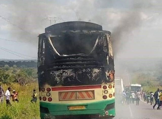 Panic As KK Travelers Bus Catches Fire, Burns To Ashes